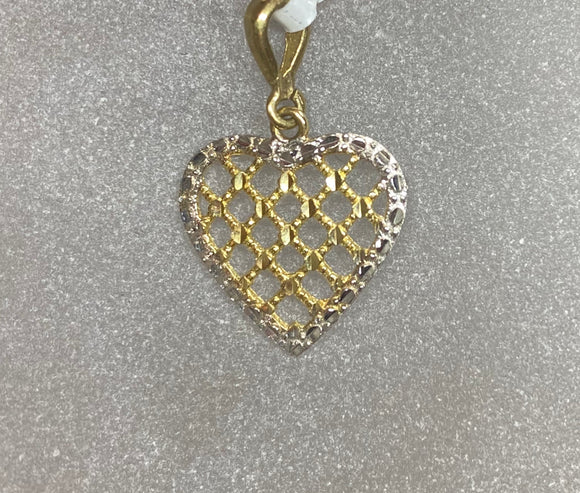 9ct Two Tone Criss Cross Heart Pendant