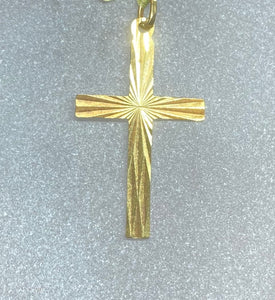 9ct Yellow Gold Diamond Cut Detail Cross