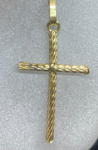 9ct Yellow Gold Slim Rope Cross