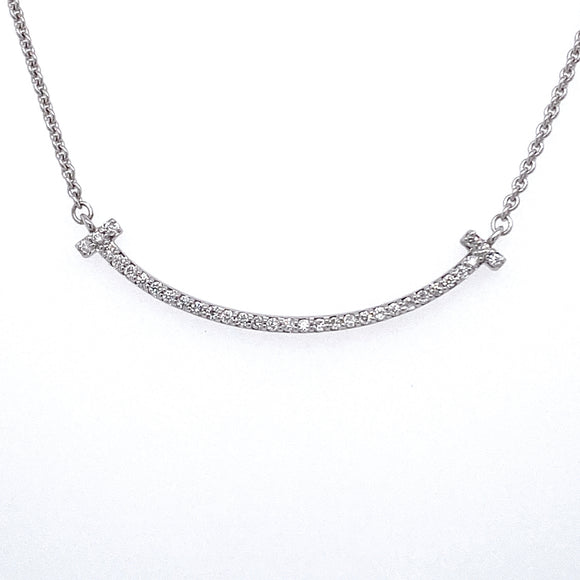 9ct White Gold Diamond Smile Necklace