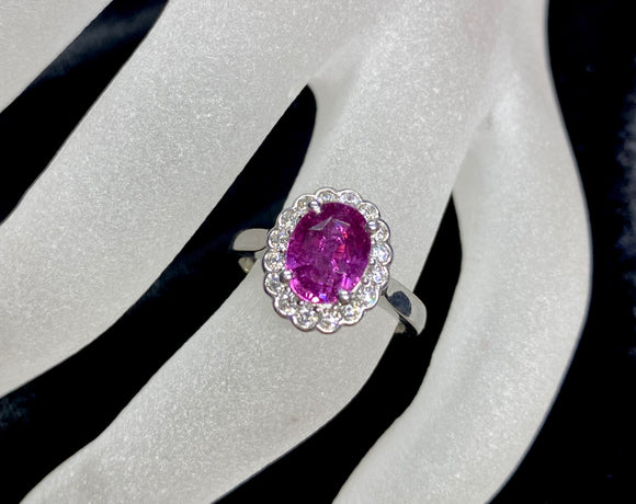 18ct White Gold Pink Sapphire Antique Halo Ring