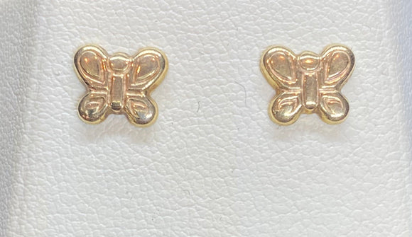 9ct Yellow Gold Butterfly Studs