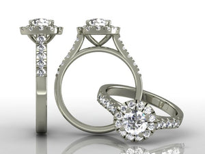 4 Claw Brilliant Cut Diamond Ring with Diamond Shoulders & Halo
