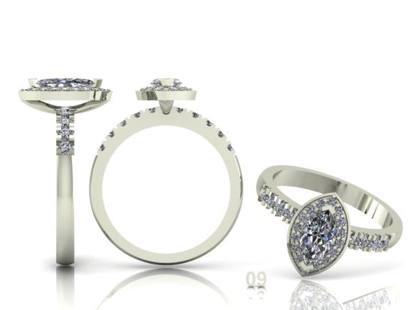 2 Claw Marquise Diamond Ring with Diamond Halo & Shoulders