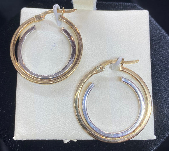 9ct Two Tone Double Hoop Earrings