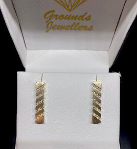 Yellow Gold Bar Diamond Earrings