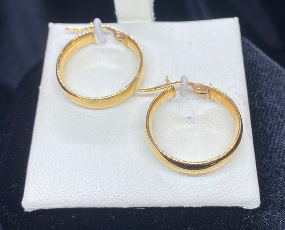 9ct Yellow Gold Barrel Hoop Earrings