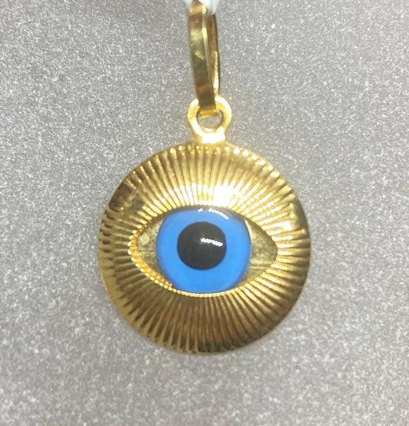 18ct Yellow Gold Evil Eyes Pendant