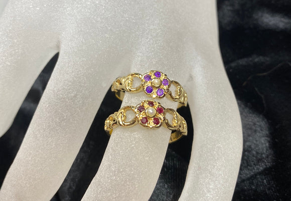 9ct Yellow Gold Ornate Flower Ring