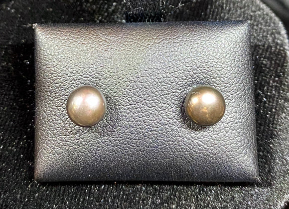 9ct White Gold Fresh Water Pearl Black Button Studs
