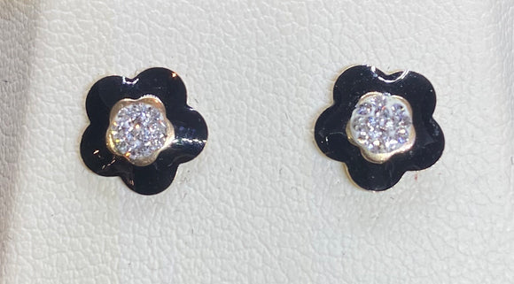9ct Yellow Gold Black Enamel Flower Studs