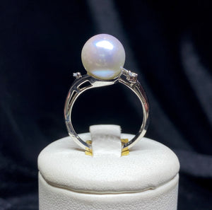 18ct White Gold South Sea Pearl Diamond Ring