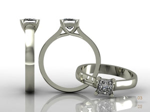 4 Claw Princess Cut Diamond Ring