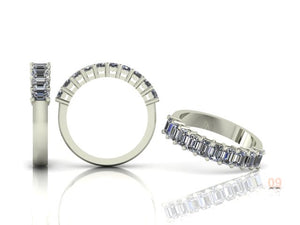 Claw Set Emerald Cut Diamond Half Band