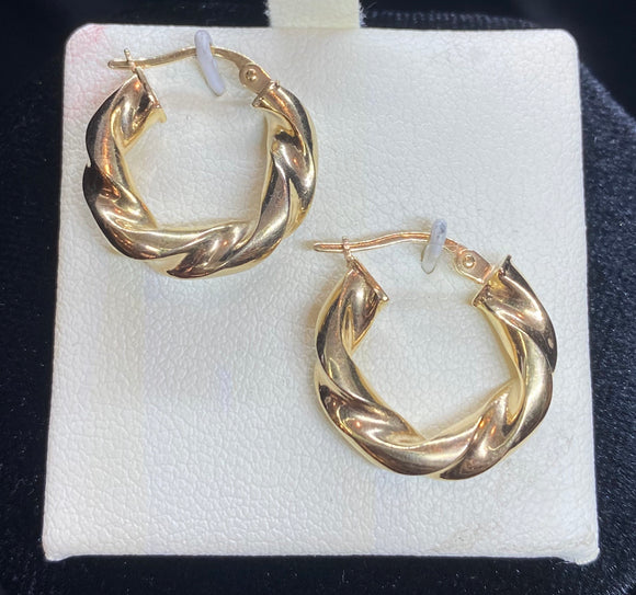9ct Yellow Gold Small Round Twist Hoop Earrings