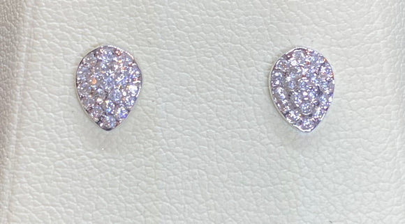 9ct White Gold Pear Shape Studs
