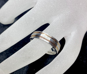 TWM Made to Order: Mens Two Tone Brushed Ring