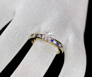 18ct Two Tone Sapphire & Diamond Ring