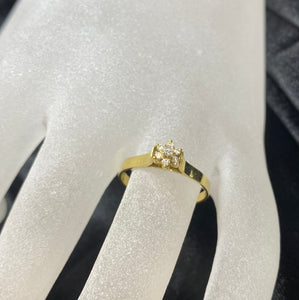 18ct Yellow Gold Flower Diamond Ring