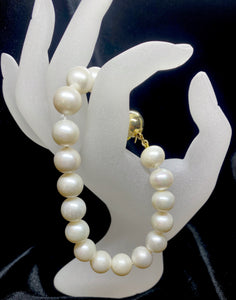 Gold Plated White Fresh Water Pearl Bracelet