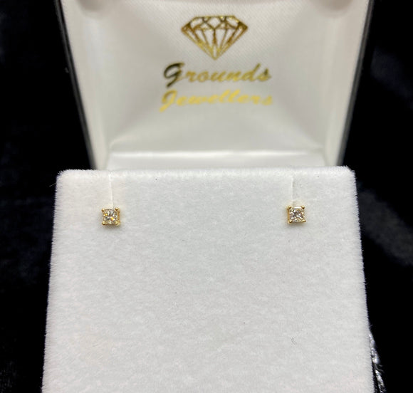 18ct Yellow Gold Emerald Cut Diamond Butterfly Stud Earrings