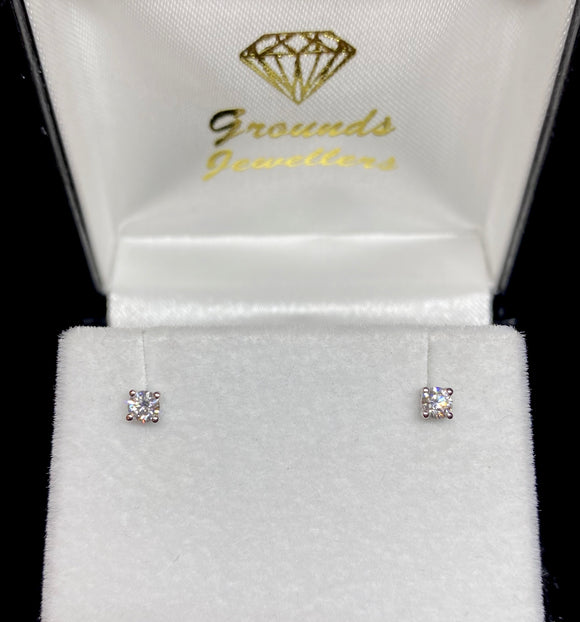 9ct White Gold Brilliant Cut Diamond Stud Earrings