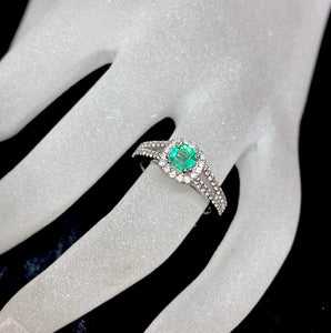 18ct White Gold Natural Emerald Diamond Halo Ring