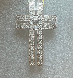9ct White Gold Diamond Row Cross