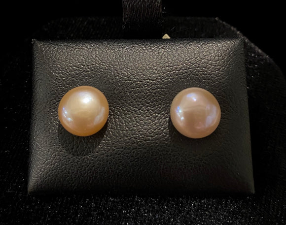 9ct Yellow Gold Pink Button Fresh Water Pearl Studs