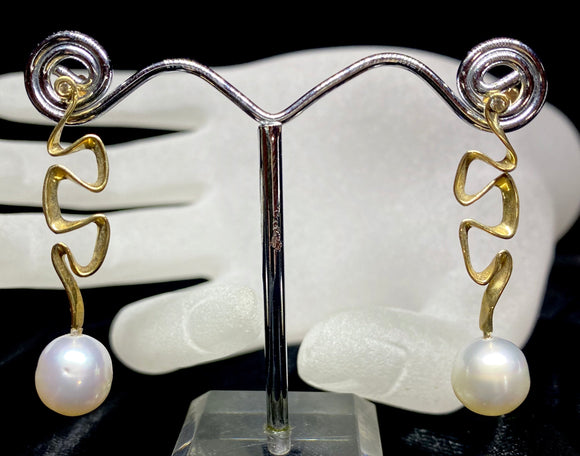 9ct Yellow Gold South Sea Pearl Diamond Wavy Earrings