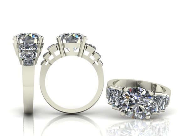 4 Claw Brilliant Cut Diamond Ring with 6 Radiant Cut Diamonds