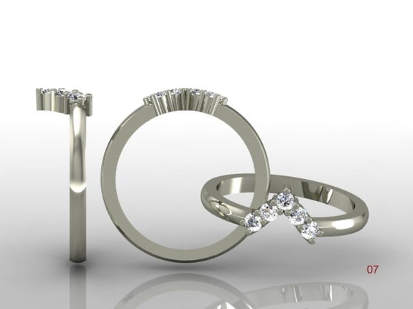 Claw Set Brilliant Cut Diamond V Band