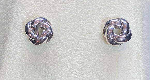 9ct White Gold Knot Studs