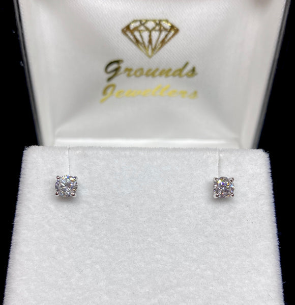 9ct White Gold Brilliant Cut Lab Grown Diamond Stud Earrings