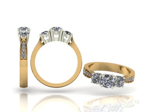 3 Stone Brilliant Cut Diamond Ring with Diamond Shoulders