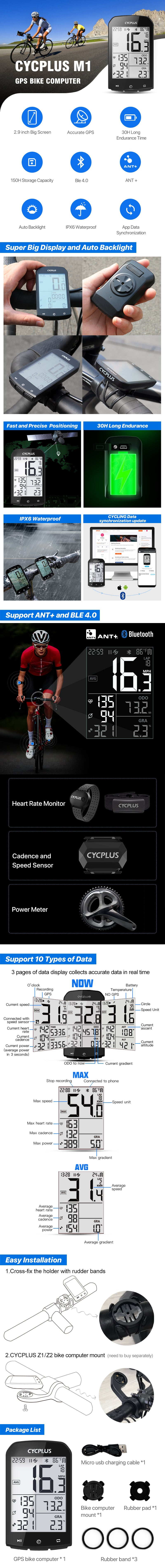 CYCPLUS M1 FEATURES BIKE COMPUTER