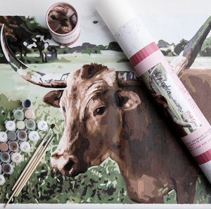 Lucy the Longhorn Printed Canvas DIY Paint Kit