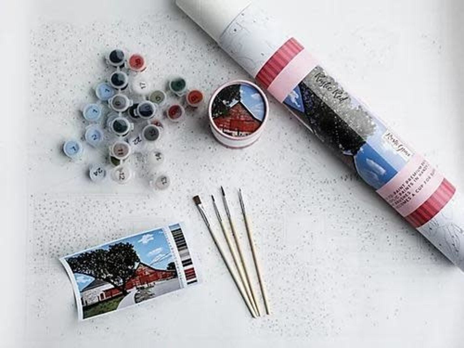 Rustic Red Printed Canvas DIY Paint Kit
