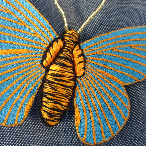 Blue & Orange Butterfly Brooch