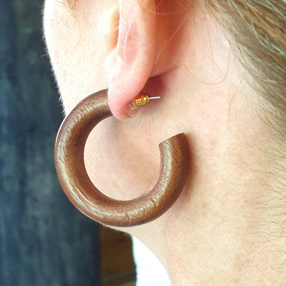 Small Wood Hoop Earrings