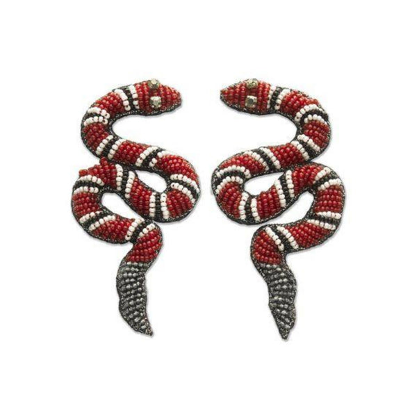 Red, Black & White Beaded Snake Earrings