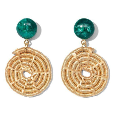Malachite Green Raffia Maze Earrings