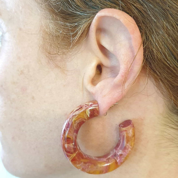 Carnelian Resin Hoop Earrings