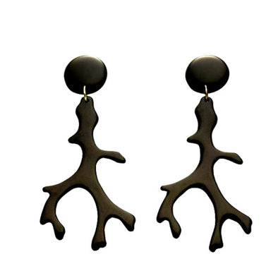 Black Coral Branch Resin Earring