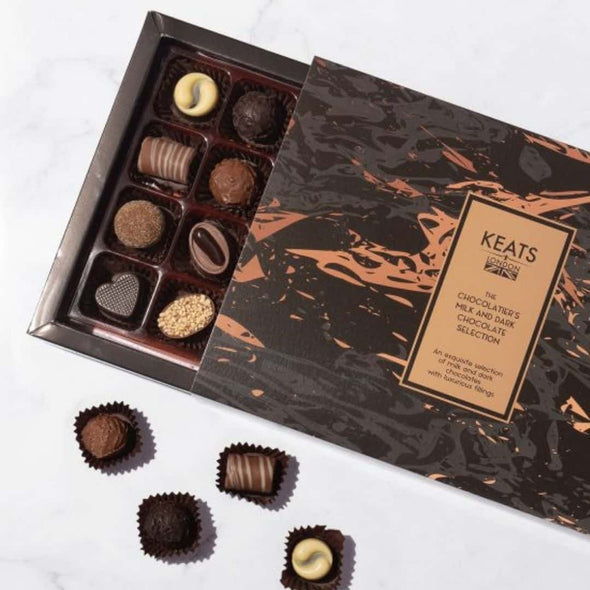 The chocolatiers milk and dark chocolate selection (16 pcs)