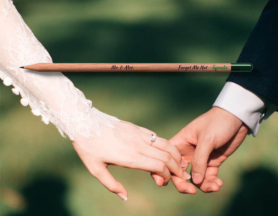 Customizable Sprout pencils wedding