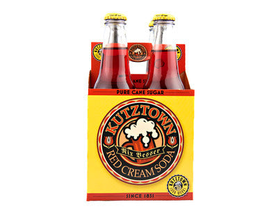Kutztown Soda: GLASS Kutztown Soda Red Cream 12 oz Glass 4 Pack