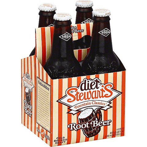 Stewart's DIET ROOT BEER 12 oz. - 4 PACK