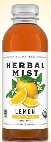 Organic Herbal Mist LEMON TEA WITH YERBA MATE 16.9 oz 12 ct