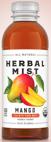 Organic Herbal Mist MANGO TEA WITH YERBA MATE 16.9 oz 12 ct